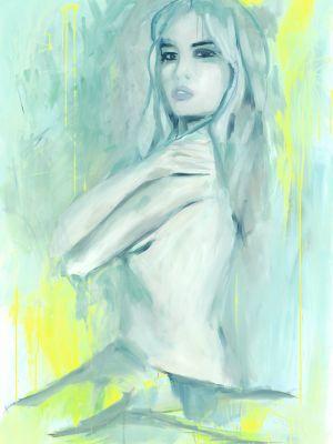 Ölbild Serena, Frau in türkisen Farben