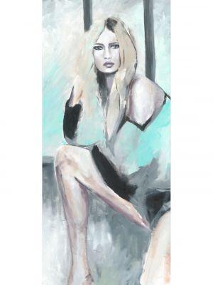 Frau in Öl gemalt vor dem Fenster