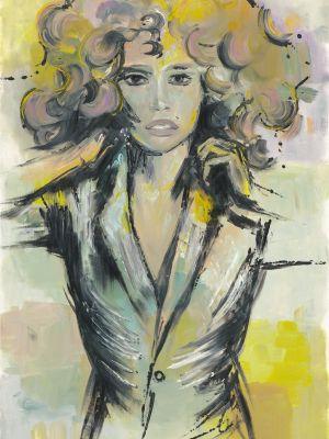 Frau mit Sakko gemalt mit Ölfarben