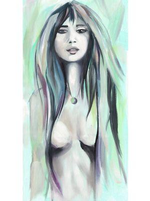 Frau mit Ölfarbe auf Leinwand gemalt