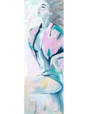 Frau in Öl gemalt mit rosa Jacke