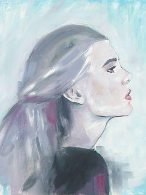 Portrait seitlich in Öl gemalt