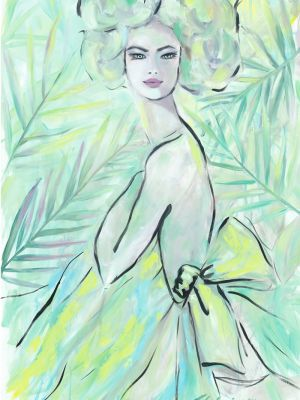 Modeillustration in Öl gemalt