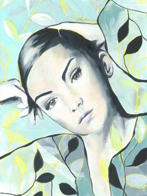Portrait in Öl mit Blumen