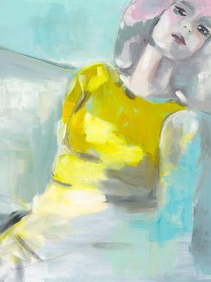 Ölbild einer Frau mit gelben Oberteil