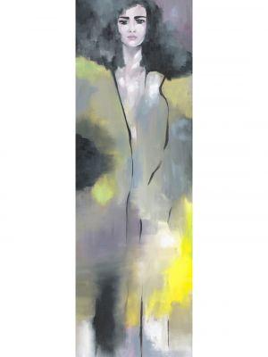 Abstraktes Ölbild, Frau mit schwarzen Haaren