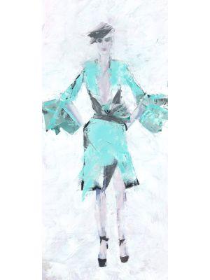 Ölbild - Frau mit türkiser Kleidung